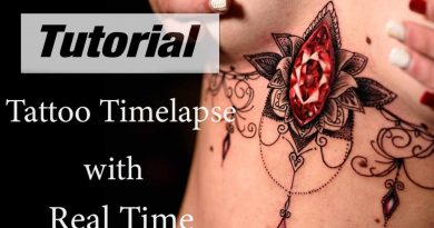 Sternum Tattoo - Timelapse with Real Time by Gmart Tattoo